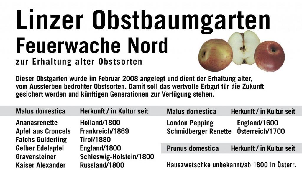 Tafel des Obstbaumgarten Feuerwache Nord