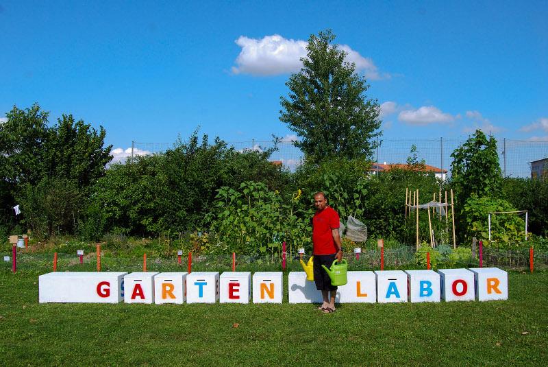 Blick auf das Garten Labor in Leonding. Foto: Johanna Klement/urbanfarm